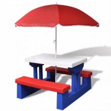 Gyerek piknikasztal napernyővel