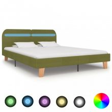 VID zöld szövetkárpitozású LED-es ágykeret 180x200 cm