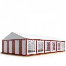 TP Professional deluxe 6x12m nehéz acélkonstrukciós rendezvénysátor erősített tetőszerkezettel piros-fehér tűzálló ponyvával