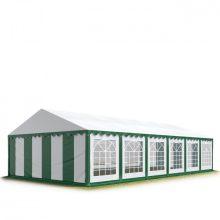 TP Professional deluxe 6x12m nehéz acélkonstrukciós rendezvénysátor erősített tetőszerkezettel zöld-fehér