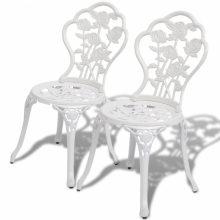 2db öntött alumínium szék - fehér