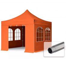 Professional összecsukható sátrak PREMIUM 350g/m2 ponyvával, acélszerkezettel, 4 oldalfallal, hagyományos ablakkal - 3x3m narancssárga