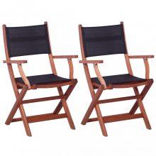 VID 2 darab fekete tömör eukaliptuszfa és textilén kültéri szék