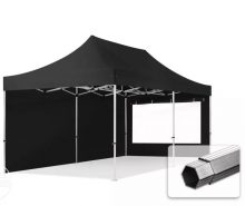 Professional összecsukható sátrak PROFESSIONAL 400g/m2 ponyvával, alumínium szerkezettel, 2 oldalfallal, panoráma ablakkal - 3x6m fekete
