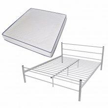 """VID Fém ágy 180x200 cm """"V07"""", memóriahabos matraccal, szürke színben"""