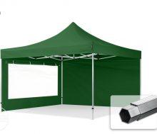Professional összecsukható sátrak PROFESSIONAL 400g/m2 ponyvával, alumínium szerkezettel, 2 oldalfallal, panoráma ablakkal - 4x4m zöld