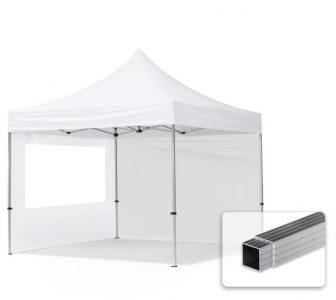 Professional összecsukható sátrak ECO 300 g/m2 ponyvával, alumínium szerkezettel, 2 oldalfallal - 3x3m fehér