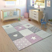 Gyerekszoba szőnyeg - pasztell lila színben - kockás mintával - több választható méretben