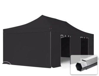 Professional összecsukható sátrak PROFESSIONAL 400g/m2 ponyvával, alumínium szerkezettel, 4 oldalfallal, ablak nélkül - 4x8m fekete