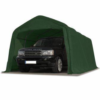 Ponyvagarázs/ sátorgarázs / tároló 3,3x4,8m -PVC 550g/nm zöld színben viharvédelmi szettel földhöz