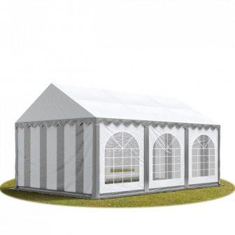 TP Professzionális 4x6 nehéz acél rendezvény sátor 500G/M2 SZÜRKE-FEHÉR PONYVÁVAL