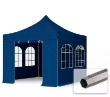 Professional összecsukható sátrak PREMIUM 350g/m2 ponyvával, acélszerkezettel, 4 oldalfallal, hagyományos ablakkal - 3x3m sötétkék