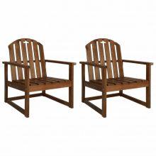 VID 2 db tömör akácfa kerti szék karfával