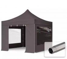 Professional összecsukható sátrak PREMIUM 350g/m2 ponyvával, acélszerkezettel, 4 oldalfallal, panoráma ablakokkal - 3x3m sötétszürke