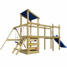 Minőségi fa játszóház / játszótér csúszdával hintákkal és homokozóval