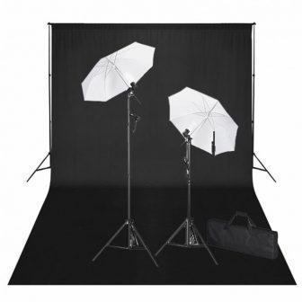 VID Stúdió felszerelés - Fekete háttérvászon, 3 db softbox, 1 db reflektor