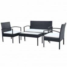 Kerti bútor szett fekete színben