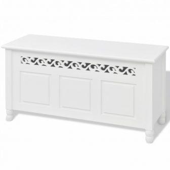 VID Barokk stílusú tároló láda/ pad Fehér színben