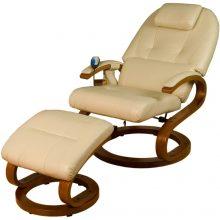 Masažna fotelja bež boje funkcijom grijanja + daljinski upravljač + tabure