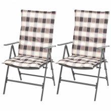 VID 2 db összecsukható kültéri acélhálós szék párnával