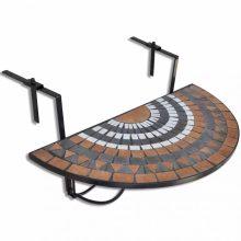 Mozaik erkélyi félköríves asztal piros