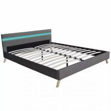 """Kárpítozott ágy 160x200 cm """"V10"""" LED világítással, világoszürke színben"""