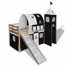 VID Emeletes ágy, gyermekágy csúszdával, kalóz mintával - tölgy színben