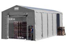 Vario raktársátor 8x12m - 3,6m oldalmagassággal, tetőblakkal-bejárat típusa: felhúzható