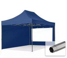 Professional összecsukható sátrak PREMIUM 350g/m2 ponyvával, acélszerkezettel, 2 oldalfallal, panoráma ablakkal - 3x4,5m sötétkék
