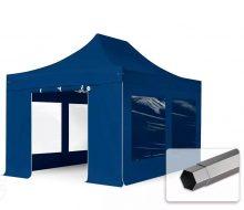 Professional összecsukható sátrak PREMIUM 350g/m2 ponyvával, acélszerkezettel, 4 oldalfallal, panoráma ablakkal - 3x4,5m sötétkék