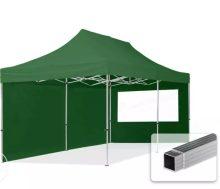 Professional összecsukható sátrak ECO 300 g/m2 ponyvával, alumínium szerkezettel, 2 oldalfallal - 3x6m zöld
