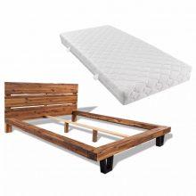 VID Krevet od masivnog bagremovog drva s madracem 140 x 200 cm