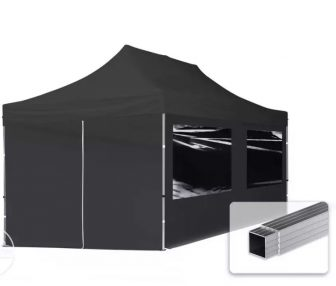 Professional összecsukható sátrak ECO 280g/m2-alumínium szerkezettel-3x6m-fekete