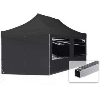 Professional összecsukható sátrak ECO 300 g/m2 ponyvával, alumínium szerkezettel, 4 oldalfallal - 3x6m fekete