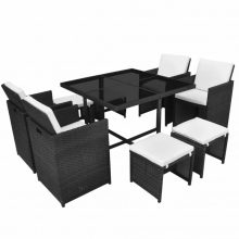 VID 8 személyes Modern 21 részes polyrattan étkezőgarnitúra fekete színben