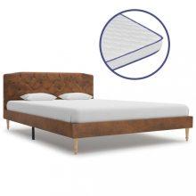 VID művelúr ágy memóriahabos matraccal 140x200 cm barna