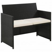VID fekete kétszemélyes polyrattan kerti kanapé párnákkal