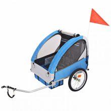Gyerekszállító kerékpár utánfutó - 30 kg teherbírással - kék