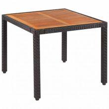 Kültéri kerti asztal polyrattan-akácfa