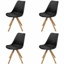 VID 4 db bükkfa/műbőr szék fekete színben