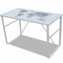 VID Mintás üveglapú íróasztal - térkép mintával