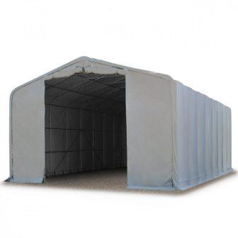 Ponyvagarázs/ sátorgarázs / tároló 8x24m-4m oldalmagasság, PVC 550g/nm kapuméret: 4,0x4,7m szürke színben