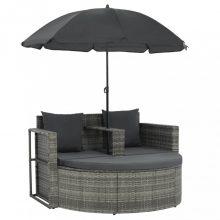 VID szürke kétszemélyes polyrattan kanapé párnákkal és napernyővel