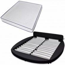 """VID PU bőr ágy 180x200 cm """"V18"""" memóriahabos matraccal, LED világítással, fekete színben"""