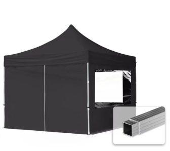 Professional összecsukható sátrak ECO 300 g/m2 ponyvával, alumínium szerkezettel, 4 oldalfallal - 3x3m fekete