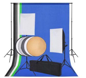 VID fotó stúdió szett: 5 db színes háttér és 2 db softbox