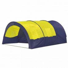 Poliészter kemping sátor 6 személyes Kék- sárga színben