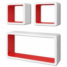 """3 db-os polc szett """"Miami' 02 fehér-piros"""