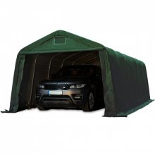 Ponyvagarázs/ sátorgarázs / tároló-zöld színben-3,3x7,2m-tűzálló ponyvával, viharvédelmi szettel földhöz-PVC 720g/nm