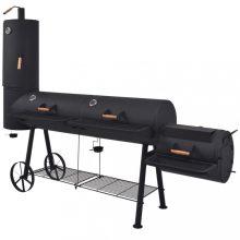 VID faszenes BBQ grillsütő alsó polccal, fekete XXXL